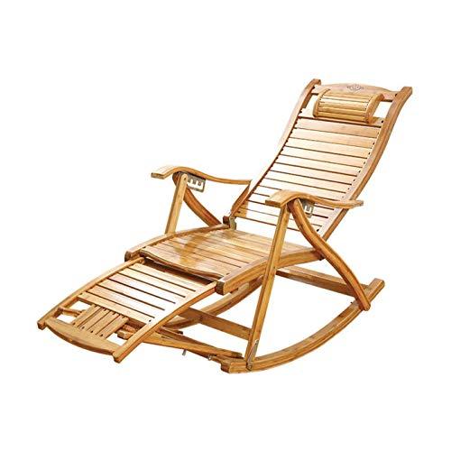 MNBV Sillón reclinable plegable de madera extendida para personas altas Jardín/Balcón/Terraza...