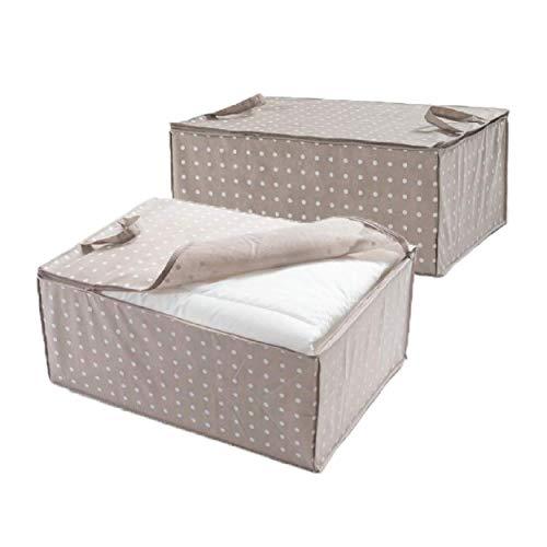 Compactor Rivoli Aufbewahrungstasche für Bettdecken, 2 Stück, Braun mit weißen Punkten