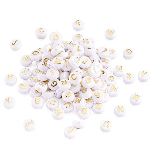 Cheriswely, 200 perline a forma di alfabeto in oro bianco acrilico da 10 mm a forma di disco piatto rotondo per creare gioielli e braccialetti