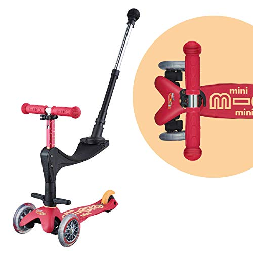 Micro Mini 3in1 Deluxe Plus 3-Stage Ride-on Micro Scooter with Pushbar for Parents, Toddler Toy for Ages 12 Months to 5 Years - Ruby