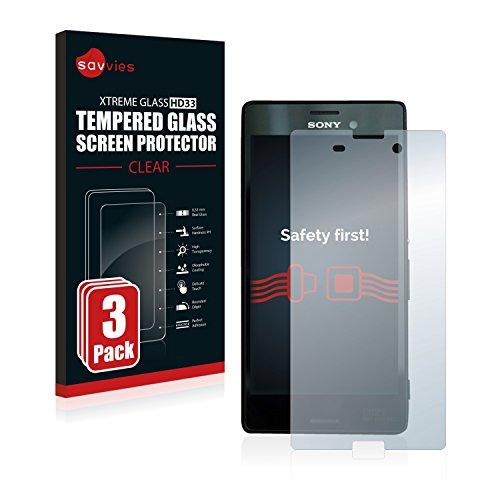 Savvies Panzerglas kompatibel mit Sony Xperia M4 Aqua (3 Stück) - Echt-Glas, 9H Härte, Anti-Fingerprint