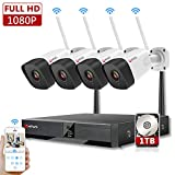 HFWS Home Security Camera System,8CH NVR,1TB HDD Hard Drive,1080p,Motion Detect,Night Vision,Audio Support,4 Cameras