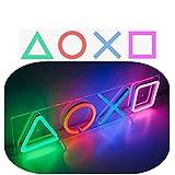 PS Controller Icons Neon Sign, Playstation LED luces de neón, accesorios de juego para decoración de pared de sala de juegos.