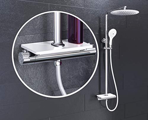 EISL DX1102CST GRANDE VITA Duschsystem mit Thermostat und Ablage, Regendusche mit Wandhalterung (auch für vorhandene Bohrlöcher), Duschsäule Duschgarnitur mit Duscharmatur im Set, Weiß