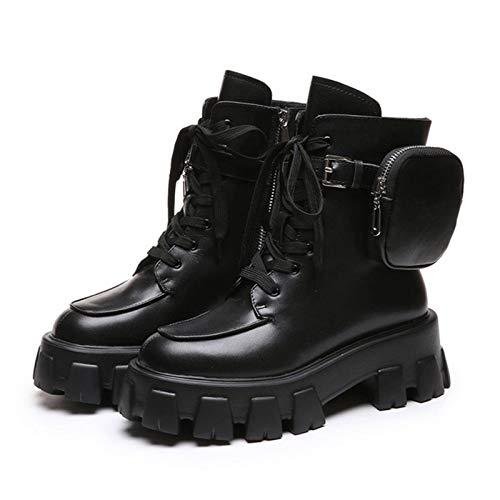 N-B Botines de mujer P U, botas de bolsillo para mujer, con cordones, batalla, running, buckle, moda para mujer