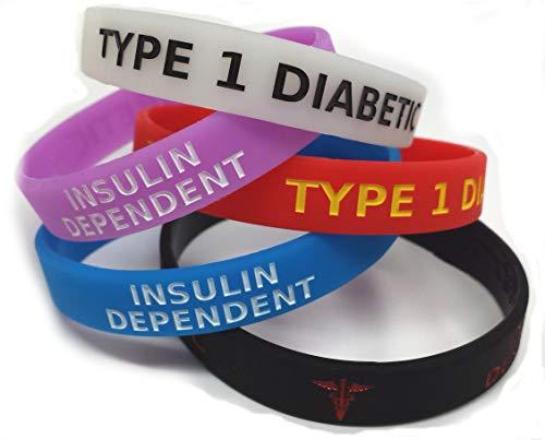 www.wristbandsforyou.com 5 x Type 1 Diabetic XL diabétiques Taille Large insuline médicaments Medicated Medical Alert Bracelet Bleu Violet Rouge Brillent dans Noir