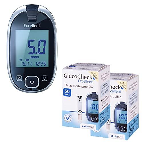 GlucoCheck Excellent Starter-Set [mmol/l] mit 110 Blutzuckerteststreifen