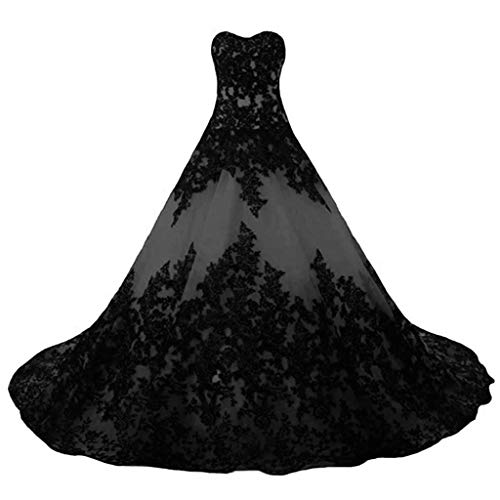 Vantexi Damen Elegante Lange Spitze Formellen Abendkleid Ballkleider Gotisch Brautkleider Hochzeitskleider Grau Größe 44