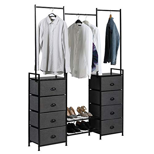 JAXPETY Modular Free -Standing Closet Organizer System Fabric Closet Storage with 8 Drawers Hanging Bar Shoe Rack Sturdy Steel Frame for Bedroom Hallway Entryway Black