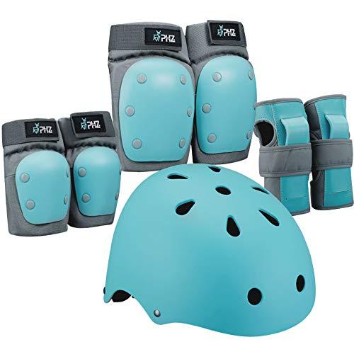 PHZ Kinder 7 Stücke Outdoor Sports Schutzausrüstung Set Jungen Mädchen Fahrradhelm Sicherheit Pads Set Knie Ellbogenschützer und Handgelenkschutz für Roller Scooter Skateboard Fahrrad