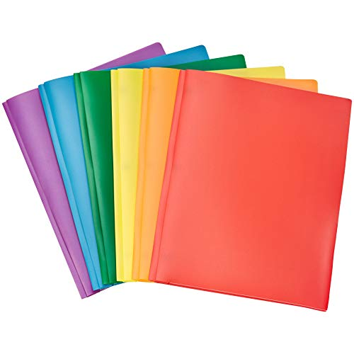 Amazon Basics Heavy Duty Plastic Folders with 2 Pockets for Letter Size Paper, Pack of 6