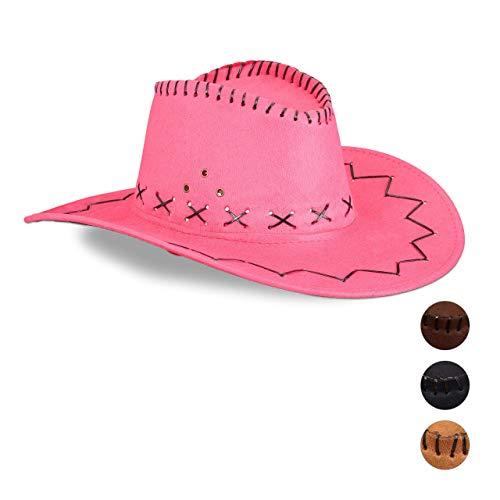 Relaxdays Cowboyhut Fasching, Westernhut, für Erwachsene, im Westernstyle, Karneval, mit Kopfband, Faschingshut, pink