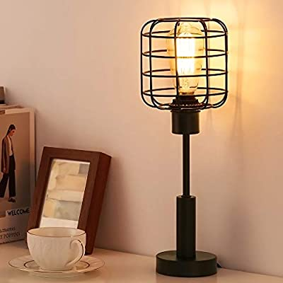 Metal Table Lamp Rustic Industrial Desk Lamp Vintage with Caged Wire Shade for Living Room Bedroom Kids Room College Dorm Coffee Table Night Light Home Decor