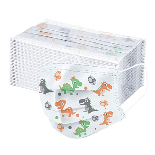 Gokeop 50PCS 3 Ply Non-Woven, Disposable Face Bandanas with Cute Dinosaur Pattern,Keep Children Safe, Breathable and Anti-Haze Dust, for Kids