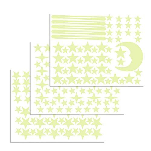 ETSAMOR 216Pcs Autocollant lumineux enfant dans l'obscurité Wall Sticker lune et Etoiles Phosphorescentes Stickers muraux pour plafond Kid une chambre mur et fenêtre