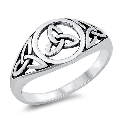 Precious Gem Jewellers Sterling Silver Three Celtic Trinity Knots Ring