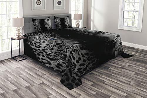 ABAKUHAUS Schwarz und weiß Tagesdecke Set, Wilde Leoparden, Set mit Kissenbezügen Sommerdecke, für Doppelbetten 264 x 220 cm, Weiß Schwarz Blau