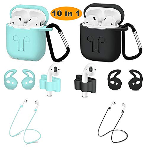 2 Pack Airpods case Cover Airpods Accessory Kit Airpods case and Apple Airpods Skin with AntiLost Airbag Belt Airpods Watch with Stand Airpods Ear Hook BlackGreen