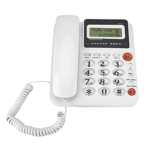 gostcai Teléfono Fijo de Pantalla Grande, identificación de Llamadas, teléfono Fijo sin batería, teléfono Fijo Manos Libres, teléfono Fijo de Oficina en casa, Timbre Fuerte(Blanco)