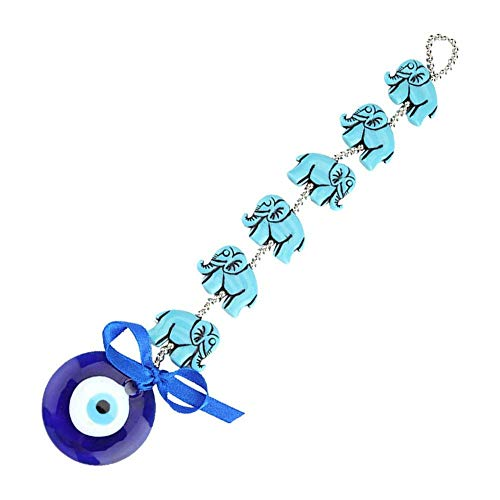 Mal de Ojo Azul, Borla de Elefante de Cristal Turco de 9,6 Pulgadas Colgante de Pared Ornamento bendición Amuleto de Buena Suerte para Regalo Decorativo de Oficina en casa