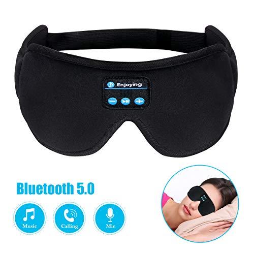 Bluetooth Augenmaske, Seide, Schlafkopfhörer, Musik-Reisen, Schlaf-Headset, 5,0 Bluetooth, Hände frei, Schlaf, Augenschatten, integrierte Lautsprecher, Mikrofon waschbar