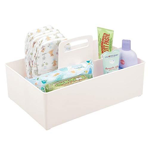 mDesign Cesta organizadora Extragrande para Cuarto de bebé – Práctica Caja con asa y 2 Compartimentos, sin Tapa – Organizador de Juguetes, pañales, Peluches y más en plástico sin BPA – Crema