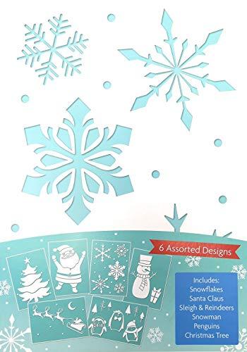 6 Plantillas de Nieve En Aerosol Para Navidad - Plantillas de Plástico de Nieve En Aerosol