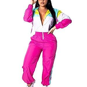 EOSIEDUR Women's Pullover Hoodies Jumpsuit Zipper Jacket Windbreaker Elastic Waistband Pants One Piece Tracksuit Set