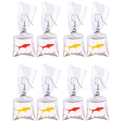 CUHAWUDBA 4 Parejas De Resina Pendientes De Peces De Colores Pendientes con Bolsa De Agua De Pescado para Mujeres y Nias