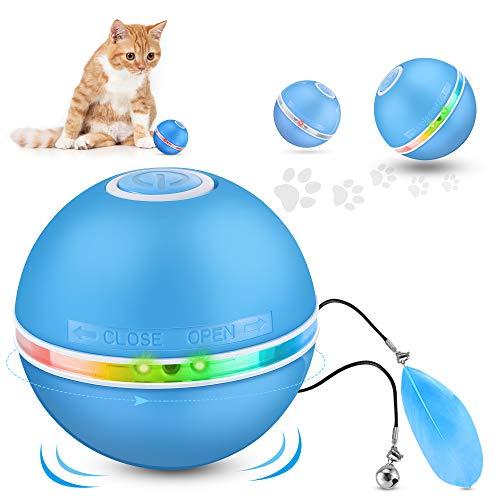 Bola De Gato Juguetes para Gatos Interactivos, Pelotas De Juguete para Gatos, Eléctrica Interactivo Pelotas para Gatos con Luz LED, Juguetes Cat Chase, 360 Grados Automática Giratoria, Carga USB