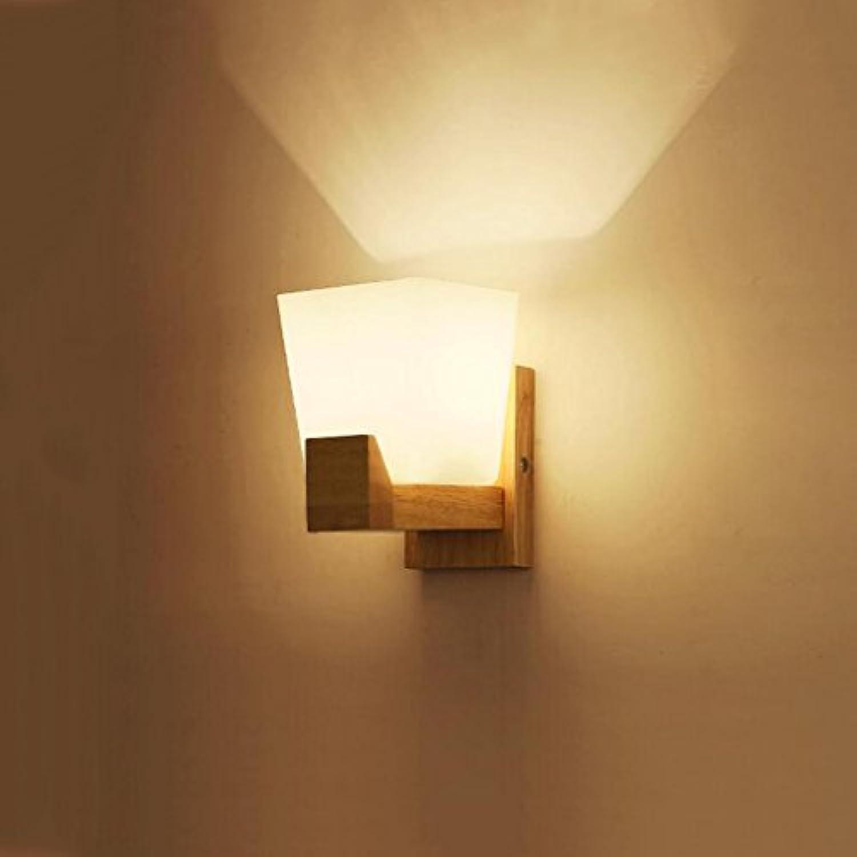 Wandleuchte WYQLZ Nordic Schlafzimmer Kopfteil Einfache Romantische Warme Gummi Holz Korridor Flur Balkon E27, Hochwertige dekorative Beleuchtung (gre   12  18  21cm)