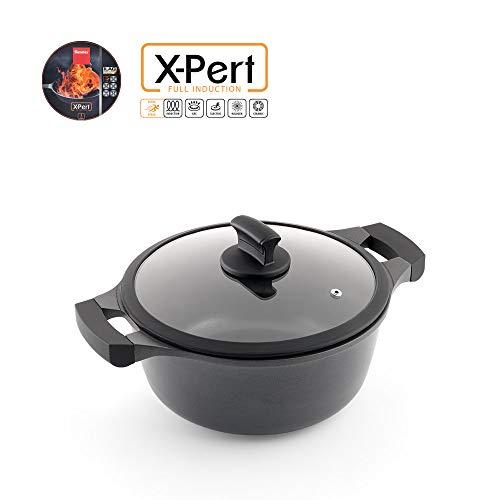 Metaltex XPERT-Cacerola Alta Aluminio Fundido, 20 cm, Antiadherente ILAG 3 Capas, Full Induction válido para Todo Tipo de cocinas