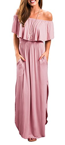 LILBETTER Womens Off The Shoulder Empire Waist Maxi Dresses Long Dresses with Pockets (Dusty Pink X-Large)