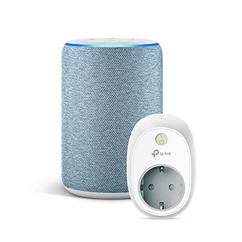 Amazon Echo (3ª generazione) - Tessuto blu-grigio +TP-Link HS100 Presa intelligente Wi-Fi, compatibile con Alexa