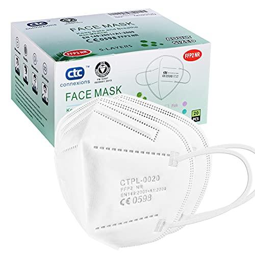 ctc connexions FFP2 / KN95 Maschera protettiva a 5 strati, certificata CE, bianca (20 pezzi / scatola, ciascuno in confezione singola) ...