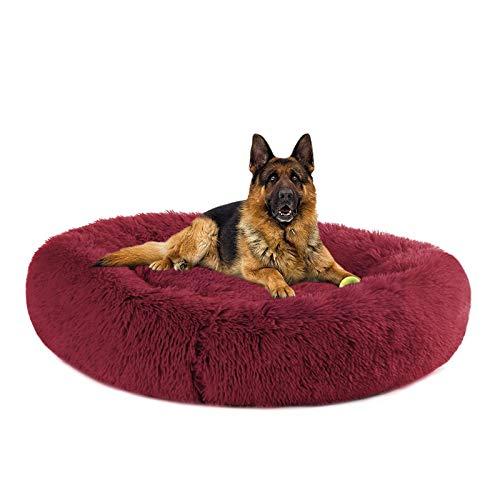 pawstrip Cama para perro esponjosa redonda de felpa lavable para mascotas, con calmante, para perros pequeños, medianos y grandes, color rojo vino