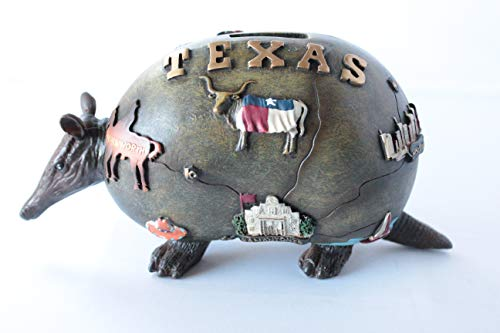 Rainbow Inc. Texas Map Rustic Armadillo Piggy Bank Hand Painted Accented with Texas Attractions