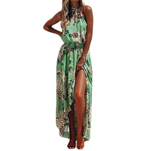 Ansenesna Kleid Damen Sommer Lang Mit Schlitz Boho Blumen Elegant Strandkleid Neckholder Vorne Kurz Hinten Lang Asymmetrisch Partykleid (M, Grün)