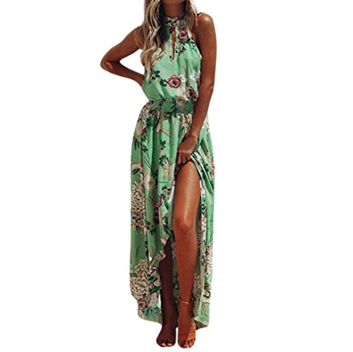Ansenesna Kleid Damen Sommer Lang Mit Schlitz Boho Blumen Elegant Strandkleid Neckholder Vorne Kurz Hinten Lang Asymmetrisch Partykleid (XL, Grün)