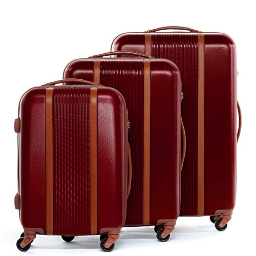 FERGÉ Luggage Set 3 Piece Hard Shell Travel Trolley Milano Suitcase Set 4 Spinner Wheels red