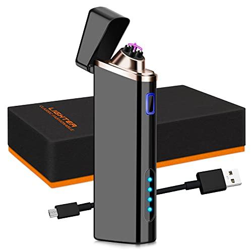 Auratrio USB Feuerzeug aufladbare elektronische Feuerzeug, Touchscreen, Winddichte Flammenlose, Lichtbogen Feuerzeug für Küche, Grill, Kerzen und Zigaretten (Y21)