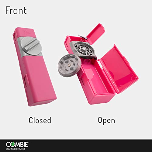 Combie Grind & Roll - Tobacco Grinder with Metal Blades, Rolling Paper W ips & Storage all in one revolutionary tool made of fiber reinforced plastic (Fuchsia)