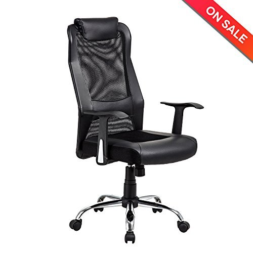LCH High Back Mesh Office Chair - Ergonomic Computer Desk Task Chair with Padded Leather Headrest, Black