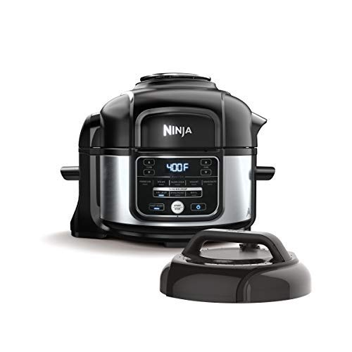 Ninja OS101 Foodi 9-in-1 Pressure Cooker and Air Fryer with Nesting Broil Rack, 5-Quart Capacity, and a Stainless Steel Finish (Renewed)