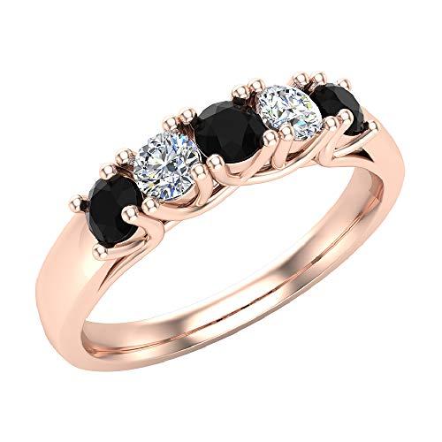 Alianza Anillo de diamantes de cinco piedras Corte brillante redondo con engaste de enrejado Peso total de 0,50 quilates Oro rosa de 14 quilates (Tamaño del anillo 8)