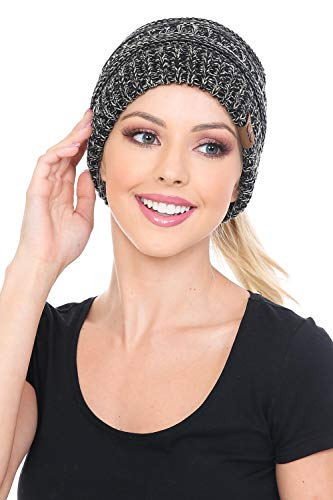 C.C BeanieTail Soft Stretch Cable Knit Messy High Bun Ponytail Beanie Hat, Pale Blue