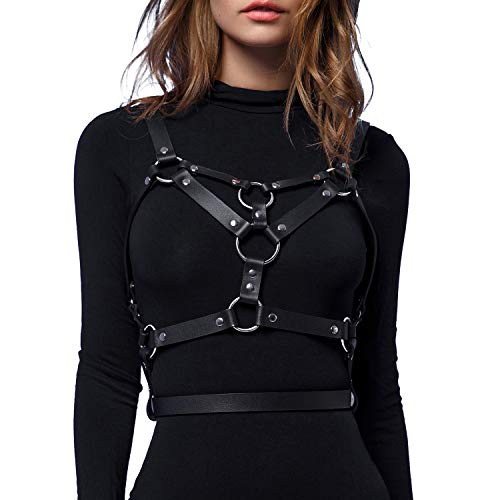 HOMELEX Women's Punk Leather Body Chest Straps Waist Harness Straps Adjustable (WM001)