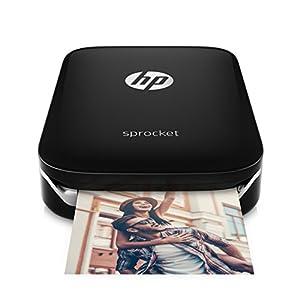 HP Sprocket-Impresora fotográfica portátil (impresión sin tinta, Bluetooth, 5x 7.6cm impresiones) color negro