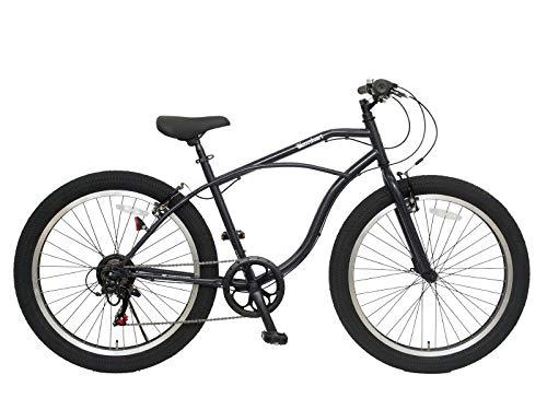 チャリンクス 26インチ バンバリ ビーチクルーザー 6段変速 スポーツ自転車 マウンテンバイク風 QR (ブラック)