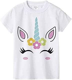 Unicorn stylish cartoon children T-shirt short sleeve round neck cotton white t-shirt for girls size 10y